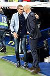 Real Madrid coach Zinedine Zidane and Deportivo de la Coruña coach Gaizka Garitaño during La Liga match between Real Madrid and Deportivo de la Coruña at Santiago Bernabeu Stadium in Madrid, Spain. December 10, 2016. (ALTERPHOTOS/BorjaB.Hojas)