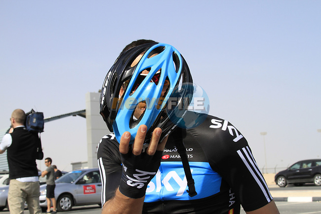 Team Sky Procycling rider Juan Antonio Flecha (ESP) before the 2nd Stage of the 2012 Tour of Qatar an 11.3km team time trial at Lusail Circuit, Doha, Qatar. 6th February 2012.<br /> (Photo Eoin Clarke/Newsfile)