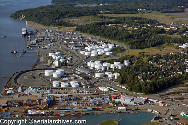 Aerial photograph of oil storage tanls at the the Port of Anchorage, Anchorage, Alaska
