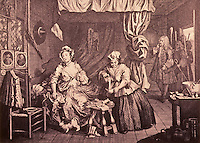 William Hogarth:  A Harlot's Progress, Plate 2.  Reference only.