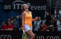 Bratislava, Slovenia, April 23, 2017,  FedCup: Slovakia-Netherlands,First rubber sunday,  Kiki Bertens celebrates, she puts the Netherlands in the lead, 2-1 for th Netherlands<br /> <br /> Photo: Tennisimages/Henk Koster