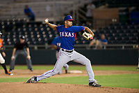 AZL Rangers relief pitcher Xavier Moore (63) delivers a pitch to the plate against the AZL Giants on September 4, 2017 at Scottsdale Stadium in Scottsdale, Arizona. AZL Giants defeated the AZL Rangers 6-5 to advance to the Arizona League Championship Series. (Zachary Lucy/Four Seam Images)