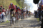 Riders, including Greg Van Avermaet (BEL) BMC Racing Team and John Degenkolb (GER) Team Giant-Alpecin, tackle Sector 18 la Trouee de Arenberg during the 113th edition of the Paris-Roubaix 2015 cycle race held over the cobbled roads of Northern France. 12th April 2015.<br /> Photo: Eoin Clarke www.newsfile.ie