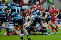 Saturday 10 May 2014<br /> Pictured: Lewis Jones passes the ball out to Harry Robinson  <br /> Re: Scarlets v Blues Rabo Direct Pro 12 Rugby Union Match at Parc y Scarlets, Llanelli, Wales