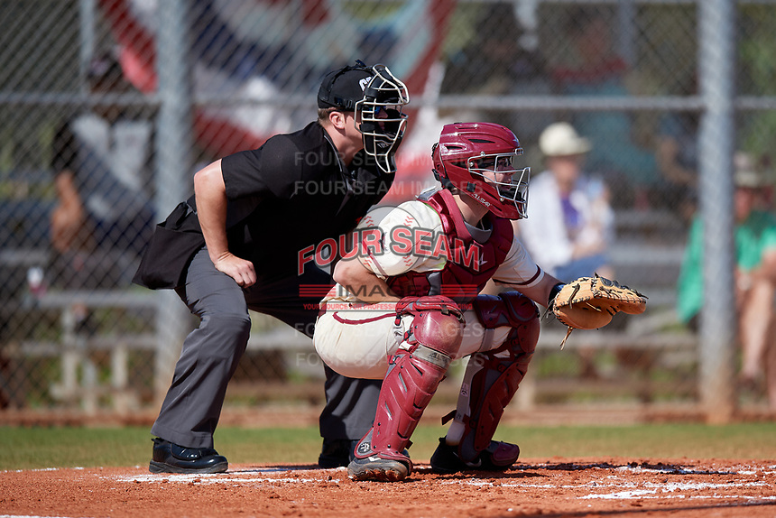 Umpire Justin Bertsche and Saint Joseph's Hawks catcher James McConnon (14) during a game against the Ball State Cardinals on March 9, 2019 at North Charlotte Regional Park in Port Charlotte, Florida.  Ball State defeated Saint Joseph's 7-5.  (Mike Janes/Four Seam Images)