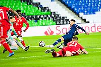 13th April 2021; Parc de Princes, Paris, France; UEFA Champions League football, quarter-final; Paris Saint Germain versus Bayern Munich;  Neymar Jr (PSG) shoots as he is tackled