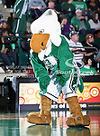 North Texas Mean Green mascot Scrappy gets the crowd worked up during the NCAA  basketball game between the Arkansas State Red Wolves and the University of North Texas Mean Green at the North Texas Coliseum,the Super Pit, in Denton, Texas. UNT defeated Arkansas State 83 to 64..