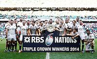 Photo: Richard Lane/Richard Lane Photography. England v Wales. RBS Six Nations. 09/03/2014. England celebrate victory with the Triple Crown presentation.