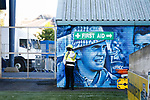 One of the Rugby Park murals. Kilmarnock 2 Ayr United 0, Scottish Championship, August 2nd 2021. Following Kilmarnock's relegation in 2020-21, the first game of the new season is the Ayreshire Derby, the first league match between the teams in 28 years. Due to relaxation of Covid restrictions the match was played in front of a crowd of 3200 Kilmarnock fans. The game was shown live on BBC Scotland.