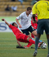 Nick Palodichuk dribbles the ball. US Under-17 Men's National Team defeated United Arab Emirates 1-0 at Gateway International  Stadium in Ijebu-Ode, Nigeria on November 1, 2009.