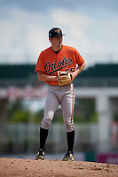 Baltimore Orioles pitcher Jake Zebron (65) gets ready to deliver a pitch during a Florida Instructional League game against the Boston Red Sox on September 21, 2018 at JetBlue Park in Fort Myers, Florida.  (Mike Janes/Four Seam Images)