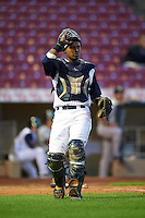 Cedar Rapids Kernels catcher Brian Navarreto (21) during a game against the Kane County Cougars on August 18, 2015 at Perfect Game Field in Cedar Rapids, Iowa.  Kane County defeated Cedar Rapids 1-0.  (Mike Janes/Four Seam Images)
