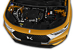 Car stock 2018 DS DS7 Crossback Be Chic 5 Door SUV engine high angle detail view
