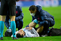 15th November 2020; Leuven, Belgium;  Ben Chilwell defender of England gets medical attention and left the game during the UEFA Nations League match group stage final tournament - League A - Group 2 between Belgium and England