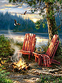 Dona Gelsinger, LANDSCAPES, LANDSCHAFTEN, PAISAJES, paintings+++++,USGE1902A,#l#, EVERYDAY,chairs,campfire,river