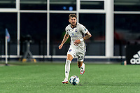 FOXBOROUGH, MA - SEPTEMBER 5: Curtis Thorn #23 of Tormenta FC brings the ball forward during a game between Tormenta FC and New England Revolution II at Gillette Stadium on September 5, 2021 in Foxborough, Massachusetts.