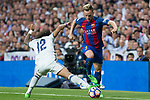 Marcelo Vieira of Real Madrid competes for the ball with Ivan Rakitic of FC Barcelona during the match of La Liga between Real Madrid and Futbol Club Barcelona at Santiago Bernabeu Stadium  in Madrid, Spain. April 23, 2017. (ALTERPHOTOS)