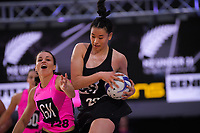 NZ A's Georgia Tong and NZ Under-21s Saviour Tui during the Cadbury Netball Series match between NZ A and NZ Under-21 at the Fly Palmy Arena in Palmerston North, New Zealand on Saturday, 24 October 2020. Photo: Dave Lintott / lintottphoto.co.nz