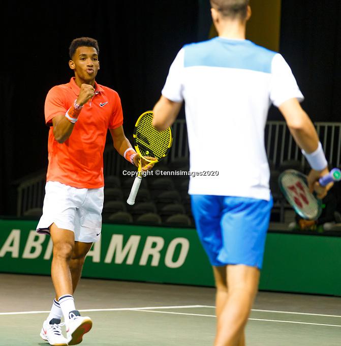 Rotterdam, The Netherlands, 9 Februari 2020, ABNAMRO World Tennis Tournament, Ahoy, Doubles: Felix Auger-Aliassime (CAN) and Oliver Marach (AUT).<br /> Photo: www.tennisimages.com