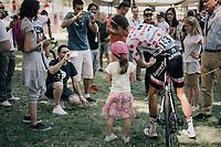 Polka Dot Jersey / KOM leader Warren Barguil (FRA/Sunweb) posing with a little fan at the start<br /> <br /> 104th Tour de France 2017<br /> Stage 14 - Blagnac › Rodez (181km)