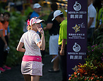 Paula Creamer at the end of her game during the World Celebrity Pro-Am 2016 Mission Hills China Golf Tournament on 23 October 2016, in Haikou, Hainan province, China. Photo by Marcio Machado / Power Sport Images