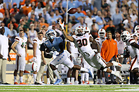 CHAPEL HILL, NC - SEPTEMBER 07: Romeo Finley #30 of the University of Miami breaks up a pass to Rontavius Toe Groves #4 of the University of North Carolina during a game between University of Miami and University of North Carolina at Kenan Memorial Stadium on September 07, 2019 in Chapel Hill, North Carolina.