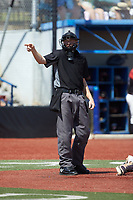 The home plate umpire makes a strike call during the game between the Old North State League West All-Stars and the High Point-Thomasville HiToms at Hooker Field on July 11, 2020 in Martinsville, VA. The HiToms defeated the Old North State League West All-Stars 12-10. (Brian Westerholt/Four Seam Images)