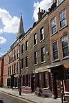 Spitalfields London Uk. Georgian town houses. Wilkes Street Londn EC1. Spitalfields Christ Church spire in background.