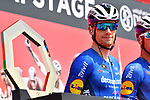 Sam Bennett (IRL) Deceuninck-Quick Step at sign on before the start of Stage 6 of the 2021 UAE Tour running 165km from Deira Island to Palm Jumeirah, Dubai, UAE. 26th February 2021.<br /> Picture: LaPresse/Gian Mattia D'Alberto   Cyclefile<br /> <br /> All photos usage must carry mandatory copyright credit (© Cyclefile   LaPresse/Gian Mattia D'Alberto)