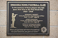 Pictured: The unveiled plaque Sunday 09 November 2014<br />