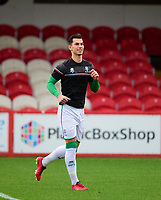 Lincoln City's Lewis Montsma during the pre-match warm-up<br /> <br /> Photographer Andrew Vaughan/CameraSport<br /> <br /> The EFL Sky Bet League One - Accrington Stanley v Lincoln City - Saturday 21st November 2020 - Crown Ground - Accrington<br /> <br /> World Copyright © 2020 CameraSport. All rights reserved. 43 Linden Ave. Countesthorpe. Leicester. England. LE8 5PG - Tel: +44 (0) 116 277 4147 - admin@camerasport.com - www.camerasport.com