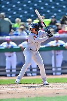 Jackson Generals third baseman Juniel Querecuto (9) swings at a pitch during a game against the Tennessee Smokies at Smokies Stadium on April 11, 2018 in Kodak, Tennessee. The Generals defeated the Smokies 6-4. (Tony Farlow/Four Seam Images)