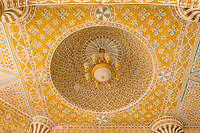 Senegal, Touba.  Moroccan-style Stucco Work on Ceiling of one of the Corridors of the Grand Mosque.