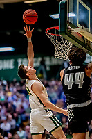 18 December 2019: University of Vermont Catamount Forward Bailey Patella, a Junior from Lenox, MA, goes for a layup in second half action against the UNC Greensboro Spartans at Patrick Gymnasium in Burlington, Vermont. The Spartans edged out the Catamounts 54-53 in the final minutes of play. Mandatory Credit: Ed Wolfstein Photo *** RAW (NEF) Image File Available ***