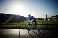 road cyclist Jelle Wallays (BEL/Topsport Vlaanderen-Baloise) wanted to try a cyclocross race for a change. Warming up here before the race.<br /> <br /> CX Leuven Soudal Classic 2015
