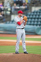 Potomac Nationals starting pitcher Dakota Bacus (31) looks to his catcher for the sign against the Winston-Salem Dash at BB&T Ballpark on April 30, 2015 in Winston-Salem, North Carolina.  The Nationals defeated the Dash 5-4..  (Brian Westerholt/Four Seam Images)