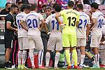 Getafe CF's coach Michel Gonzalez with his players during La Liga match. August 29, 2021. (ALTERPHOTOS/Acero)