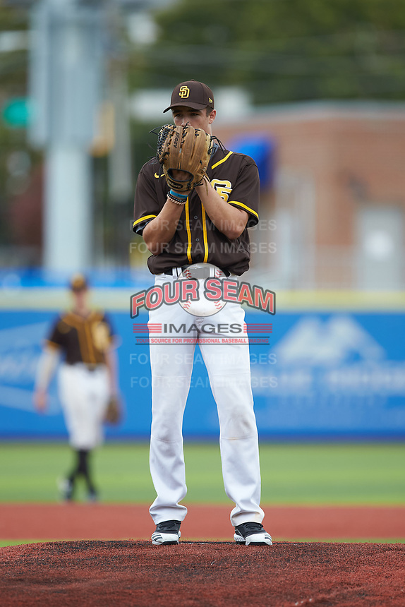 Jace Miner (23) of Brookville High School (PA) playing for the San Diego Padres scout team during game five of the South Atlantic Border Battle at Truist Point on September 27, 2020 in High Pont, NC. (Brian Westerholt/Four Seam Images)