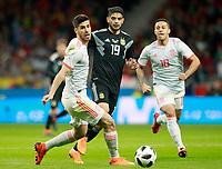Spain's Marco Asensio (l) and Thiago Alcantara (r) and Argentina's Ever Banega during international friendly match. March 27,2018.(ALTERPHOTOS/Acero) /NortePhoto.com NORTEPHOTOMEXICO