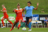 Piscataway, NJ - Saturday July 09, 2016: Amber Brooks, Raquel Rodriguez during a regular season National Women's Soccer League (NWSL) match between Sky Blue FC and the Houston Dash at Yurcak Field.