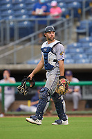 Fort Myers Mighty Mussels catcher Charles Mack (33) during a game against the Clearwater Threshers on July 29, 2021 at BayCare Ballpark in Clearwater, Florida.  (Mike Janes/Four Seam Images)