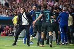 Chelsea's coach Antonio Conte, Alvaro Morata and Marcos Alonso celebrating a goal during UEFA Champions League match between Atletico de Madrid and Chelsea at Wanda Metropolitano in Madrid, Spain September 27, 2017. (ALTERPHOTOS/Borja B.Hojas)