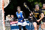 GER - Hannover, Germany, May 30: During the Women Lacrosse Playoffs 2015 match between Muenster Mohawks (blue) and HTHC Hamburg (black) on May 30, 2015 at Deutscher Hockey-Club Hannover e.V. in Hannover, Germany. Final score 9:20. (Photo by Dirk Markgraf / www.265-images.com) *** Local caption *** Ellen Boemler #21 of Muenster Mohawks, Antonia Grabe #18 of HTHC Hamburg