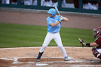 Clemente Inclan (18) of the North Carolina Tar Heels at bat against the South Carolina Gamecocks at Truist Field on April 6, 2021 in Charlotte, North Carolina. (Brian Westerholt/Four Seam Images)