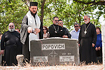 Bishop Maksim (Maxim) of the Western American Diocese of the Serbian Orthodox Church conducts a Pomen (memorial service) for the pioneer Serbians buried at the Angels Camp, Calif., Cemetery as part of the celebration of St. Vasilije of Ostrog Serbian Orthodox Church 100th anniversary.