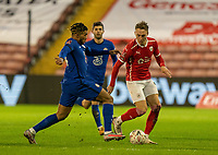 11th February 2021; Oakwell Stadium, Barnsley, Yorkshire, England; English FA Cup 5th round Football, Barnsley FC versus Chelsea; Reece James of Chelsea tackling in midfield