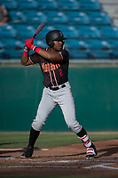 Modesto Nuts designated hitter Kyle Lewis (2) at bat during a California League game against the San Jose Giants at San Jose Municipal Stadium on May 15, 2018 in San Jose, California. Modesto defeated San Jose 7-5. (Zachary Lucy/Four Seam Images)