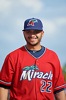 Fort Myers Miracle pitcher Melvi Acosta (22) during introductions before a Florida State League game against the Charlotte Stone Crabs on April 6, 2019 at Charlotte Sports Park in Port Charlotte, Florida.  Fort Myers defeated Charlotte 7-4.  (Mike Janes/Four Seam Images)