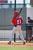 Philadelphia Phillies Yerwin Trejo (27) at bat during a Florida Instructional League game against the Atlanta Braves on October 5, 2018 at the Carpenter Complex in Clearwater, Florida.  (Mike Janes/Four Seam Images)
