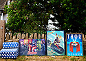 Super Heroes posters on the wall in Leafield, an  Oxfordshire  village in the Cotswolds. CREDIT Geraint Lewis